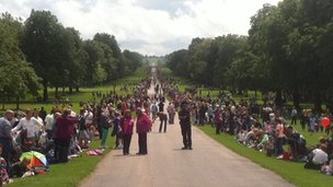 Crowds begin to line the Long Walk in Windsor Great Park ahead of the arrival of the torch.