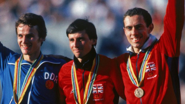 Seb Coe (centre) with Steve Ovett (right)