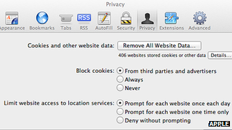 Safari browser preferences screenshot