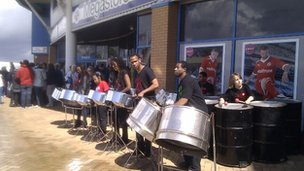 Steel band outside Madejski Stadium, Reading