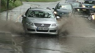 Heavy rain in County Durham
