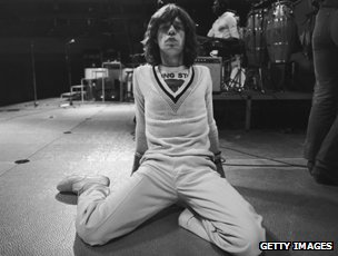 Mick Jagger at tour rehearsals in 1975