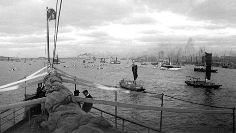 China Navigation Company ship on Whangpoo River, Shanghai, c.1906.