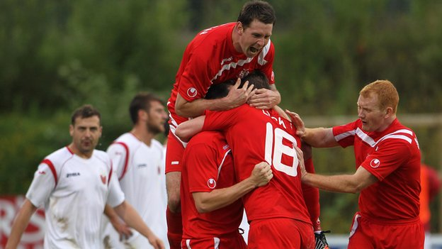 Portadown celebrate Richard Lecky's equaliser