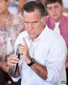 Republican presidential candidate Mitt Romney in Colorado Springs, Colorado, on 10 July 2012