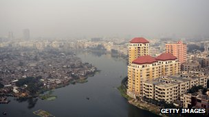 General view of Dhaka, with slum area seen on left