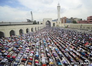 Ramadan prayers outside National Mosque of Bangladesh