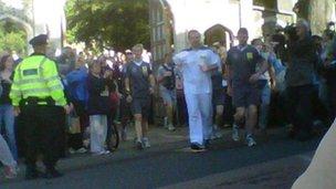 Lee Umpleby gets the relay under way