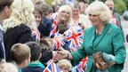 Camilla, Duchess of Cornwall meets staff and pupils at Ysgol Penmaes, Brecon