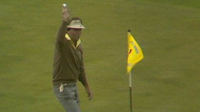 America's Lanny Wadkins celebrates hole-in-one