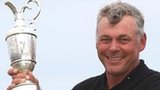 Darren Clarke holds the Open trophy