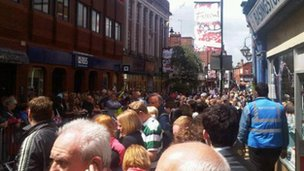 The crowd awaits the torch in Basingstoke