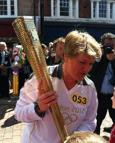 Clare Balding with the torch