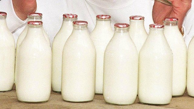 Pint bottles of milk