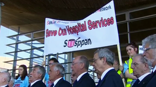 Protesters at the Senedd building