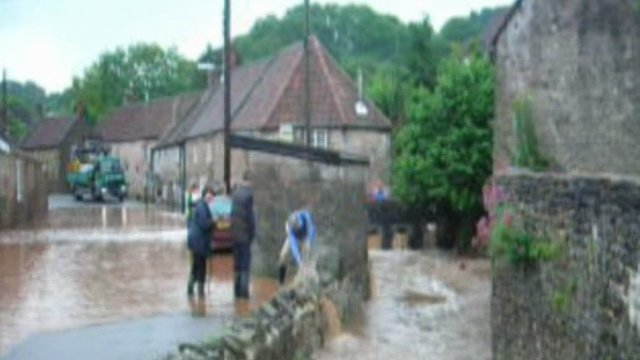Flash flooding in Croscombe, Somerset