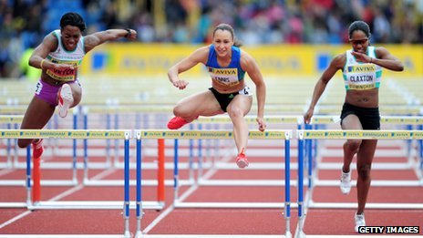 Jessica Ennis wins the Women's 100 Metres Hurdles Final during the UK Olympic Trials