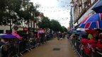 Crowds under umbrellas on Worcester High Street