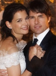Katie Holmes and Tom Cruise on their wedding day
