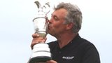 Darren Clarke kisses the Claret Jug after his Open victory