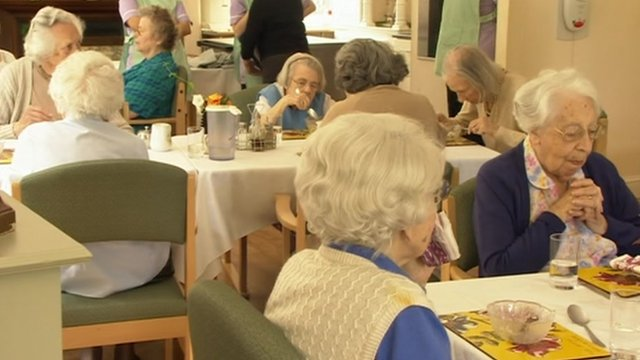 Elderly residents in care home