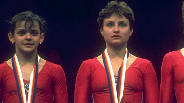 Soviet gymnast Yelena Shushunova (right)