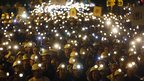 Spanish coal miners demonstrate with their lamps lit through the streets of the city of Leon, northern Spain, on 12 June 2012