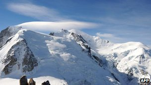 Mont Blanc with Mont Maudit and Dome du Gouter (File pic)
