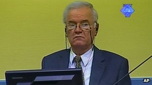 Screengrab of Ratko Mladic sitting in court in The Hague