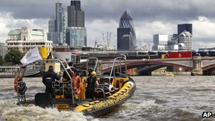 Security boat on the Thames