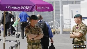 Troops at the Olympic Village, Stratford
