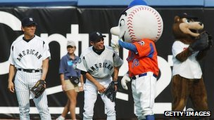 Hideki Matsui and Ichiro Suzuki have some fun in the outfield at the MLB All-Star Game in 2003