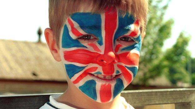 Boy with Union Jack face