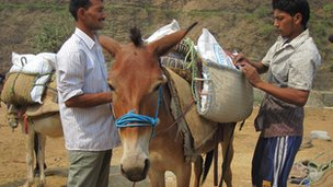 World Food Programme donkeys load up with food