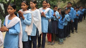 Pupils line up in Dalla Nepal