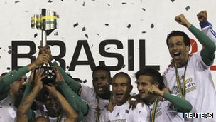 Palmeiras players celebrate following their win in the Brazilian Cup final