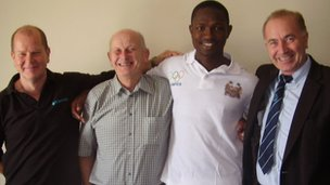 Ibrahim Turay in Hastings with White Rock Hotel manager Laurence Bell, Roger Mitchell and Michael Foster