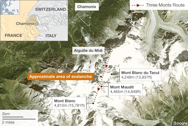 Map of avalanche site