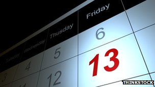 Friday 13th on calendar