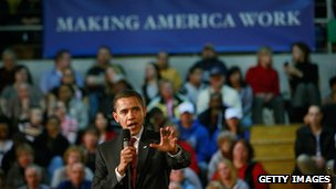 President Barack Obama addresses Indiana residents during a town halll style meeting