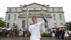 Jamie Cooke carried the flame at the Kingston Maurward College in Dorchester, 12 July 2012