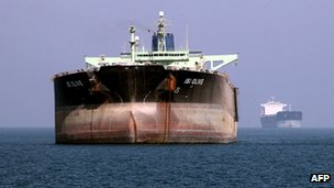 Tankers near the southern Iranian port of Bandar Abbas on 2 July 2012 (file photo)