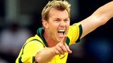 Brett Lee playing for Australia