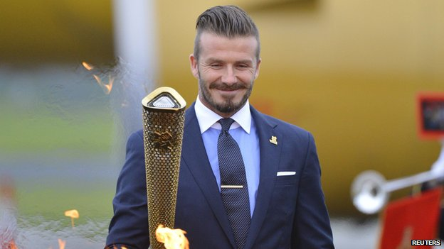 David Beckham with Olympic torch