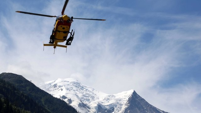 Rescue helicopter in Chamonix