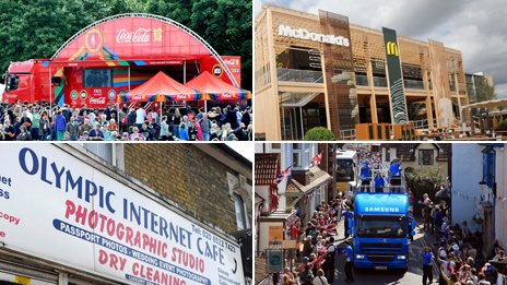 From top left, clockwise: Coca-cola sponsorship tent, McDonalds in the Olympic Park, Samsung van on torch relay, Olympic Internet cafe
