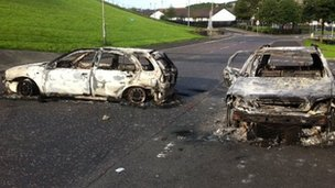 Two burned-out cars