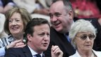 David Cameron and his mother Mary Cameron sit in the Royal Box in front of the First Minister of Scotland, Alex Salmond