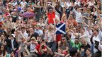Fans celebrate on Murray mount at Wimbledon