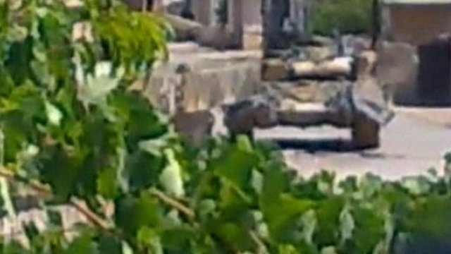 Grainy image apparently showing a tank in Tremseh